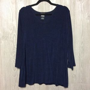 Navy Slinky Knit Blouse - PLUS SIZE